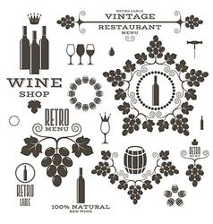 Wine Barrel Bottle Wineglass vector