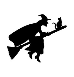 witch magical silhouette fantasy broom vector image