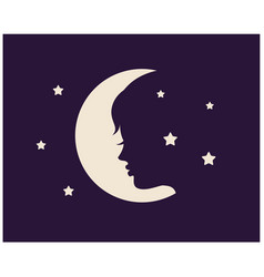 womans face against background moon an vector image