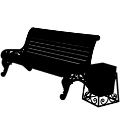 wooden bench with an urn isolated on white backgro vector image