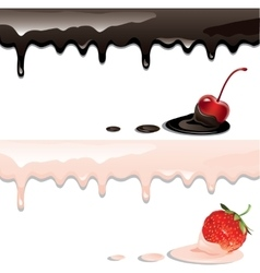 Yogurts and berries vector