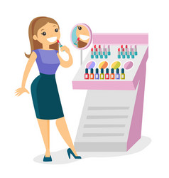 Young caucasian white woman buying lipstick vector