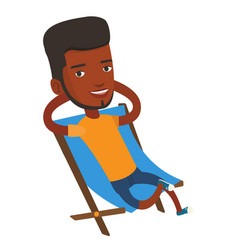 Young man sitting in folding chair vector