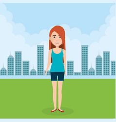 young woman in the field character scene vector image