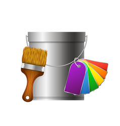 bucket paintbrush and paint palette vector image vector image
