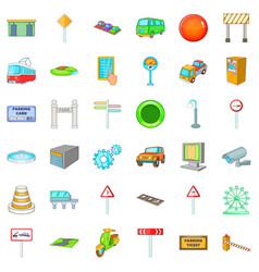city navigation icons set cartoon style vector image
