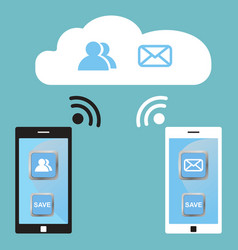 cloud technology white and black smart phones vector image vector image