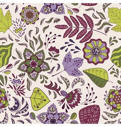 Cute seamless pattern with flowers and leaves vector image vector image
