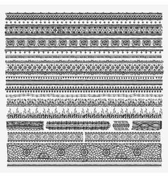 Hand drawn line border set and design elements vector