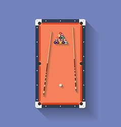 Icon of poll or billiard table with cues and balls vector image