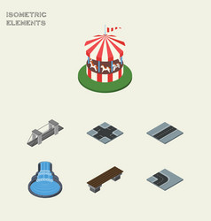 isometric city set of garden decor turning road vector image vector image