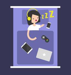 new technologies addiction young girl sleeping vector image vector image