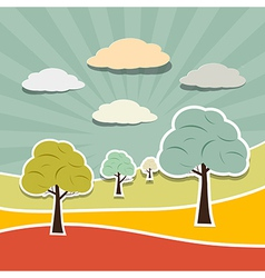 Retro Rural Paper Landscape Background with Trees vector image vector image