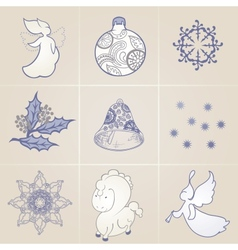 Set of elements on a Christmas theme vector image vector image