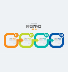 4 steps timeline infographic template with arrows vector image vector image