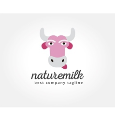 Abstract cartoon cow head logo icon concept vector image