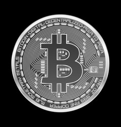 crypto currency bitcoin silver symbol vector image vector image