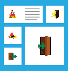 flat icon emergency set of emergency entrance vector image vector image