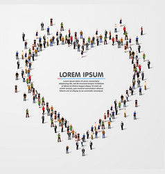 group of people in the heart vector image