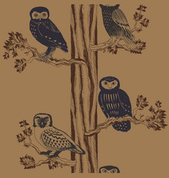 hand drawn seamless pattern with owls vector image vector image