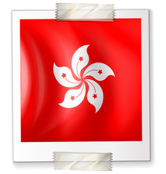 hongkong flag on square paper vector image vector image