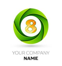 Realistic number eight logo in the colorful circle vector