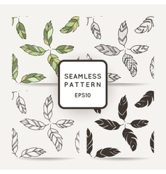 Set of seamless pattern of feathers Doodle vector image vector image