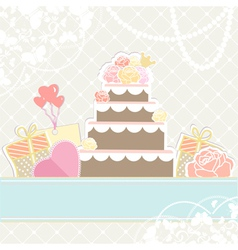 Wedding or birthday cake with gifts vector image