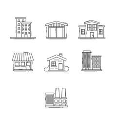buildings outline set vector image vector image