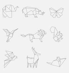 line origami animals vector image