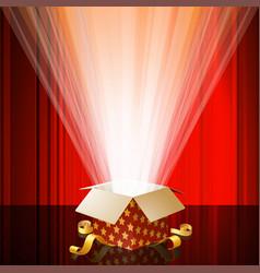 shining magic gift box vector image vector image