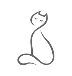abstract cat symbol icon on white vector image