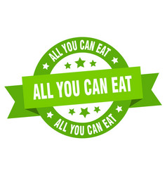 all you can eat ribbon all you can eat round vector image