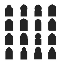 Arabic arch window and doors black set vector
