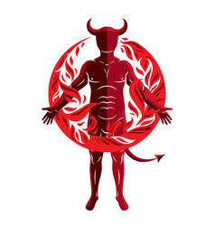 athletic horned man surrounded by a fireball of vector image