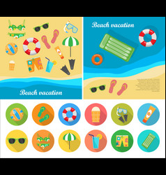 beach vacation concept in flat style design vector image