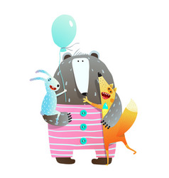 bear fox rabbit holiday friends vector image