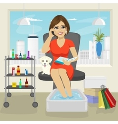 Beautiful woman getting spa pedicure procedure vector