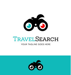 Binoculars logo or icon for searching the internet vector