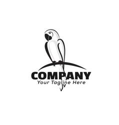 Black art perch parrot logo design inspiration vector