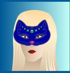 blonde girl in cat carnival mask vector image