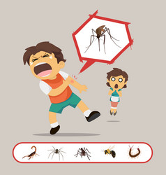 Boy gets bitten by insects vector