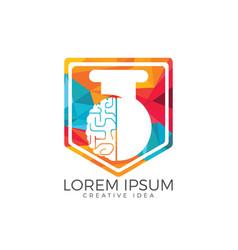 Brain lab logo design vector