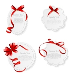 Card with Red Ribbon and Bow Set vector