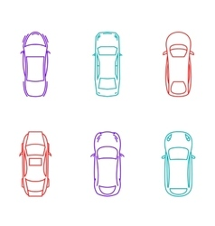 Cars top view icons vector