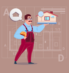 Cartoon builder holding small house ready real vector