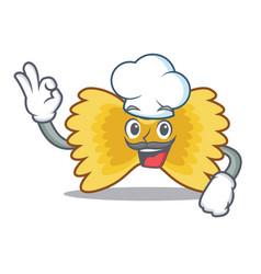 chef farfalle pasta character cartoon vector image
