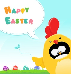 Chicken Costumed Penguin Easter Message vector image vector image