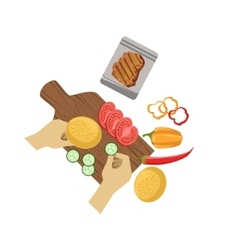Child cooking burger with only hands vector