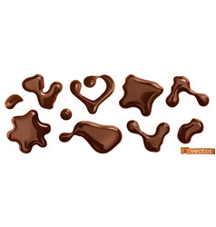 chocolate drops 3d realistic set vector image